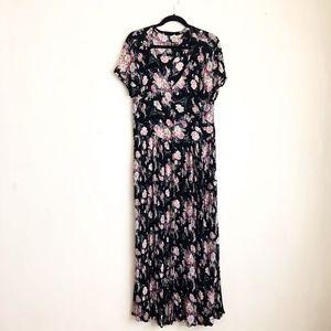 Vintage dress black floral blush maxi Large